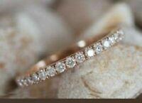 1 CT Round Diamond Engagement Wedding Band Ring Pave 14K Rose Gold Finish