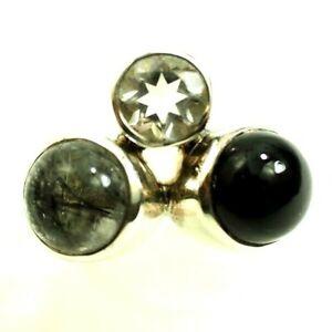 Arya Ladies 3 cabochon Onyx Rutilated Quartz Aqua Ring Sterling Silver Size 7.5