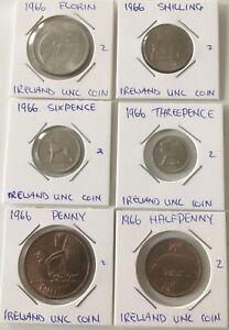 1966 Ireland PRE DECIMAL IRISH COIN SET UNC Uncirculated X 6 Coins FREE POSTAGE