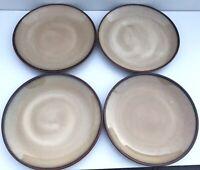 "Set (4) Sango Nova Brown 10-1/2"" Dinner Plates"
