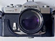 Konica Autoreflex T 35mm Camera With Konica Hexanon AR 57mm f 2.8 Lens Case More