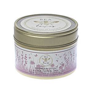 Bea Loves Scented Soy Wax & Pure Beeswax 130g Candle in a Tin: Raspberry & Plum