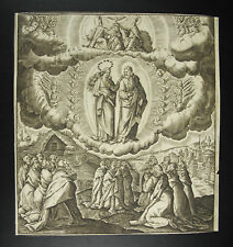 Engraving religious 17th/18th towards 1700 worship of Christ to the Virgin print