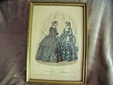 "ANTIQUE Framed Modes De Paris PETIT COURRIER DES DAMES 1853 11 1/4"" X 8 1/4"""