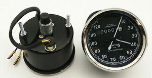 Vintage Replica Smith Speedometer 10-120 Mph BSA Royal Enfield NortonChrome Rims