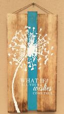 Hand Painted Wooden Wall Plaque Wishes come True Shabby Chic Wall Art 50cm