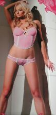 Fantasy Lingerie Stretch Knit Bustier & Panty w/ Ruffle & Button Accent S/M B160