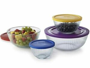 Pyrex Mixing Bowls 8 Piece Set 4 Glass Mixing Bowls With Lids