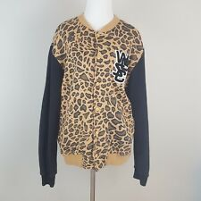 WeSC Womens Jacket Large Leopard Cheetah Fleece Varsity Baseball Bomber Snap (K)