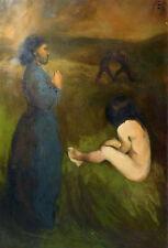 CLARA A LA CAMPAGNE grand tableau classique huile sur toile nu femme BELAUBRE