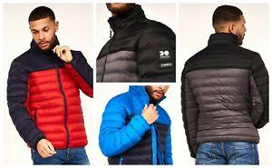 Crosshatch Mens Full-Zip Quilted Padded Jacket W/ Hidden Hood - Black, Red, Blue