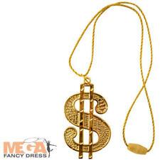 Gold Dollar Sign Necklace Fancy Dress Costume 70s 80s Rapper Pimp Accessory New