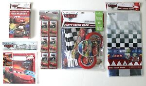 Disney Cars Party Set Invitations Treat Sacks Favors Tablecloth Thank You Cards