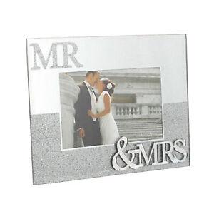 "Wedding / Anniversary - Mirror & Glitter Photo Frame - 6""x4"" - Mr & Mrs"