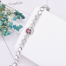 Classical Round Natural Red Garnet Zircon Gems Platinum Plated Charm Bracelets