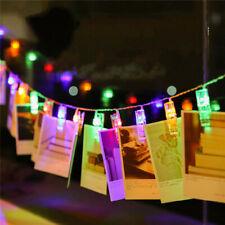 20 LED String Lights Festival Christmas Decor Photo Clip Bedroom Hanging Cards