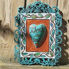 Folk Art ORIGINAL Mixed Media God Love Leaf Vine Heart Bible Scripture Christian