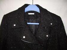Women's Jacket , black beaded, lined, size 12, zip, decor. studs, very nice.
