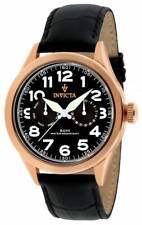 Invicta Men's Watch Vintage Day-Date Black Dial Black Leather Strap 11742
