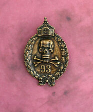 93 Medal Badge Pin - Brass Finish Crown Skull Thelema Crowley Agape Laurels