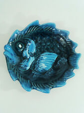 Vintage French Vallauris Pottery Unusual Blue Fish Dish / Plate / Bowl