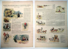 1900 Sport And Manoeuvres In Northern India Vintage Colour Sketches And Article