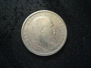 GERMANY WUERTTEMBERG  2 MARK 1896 F COIN