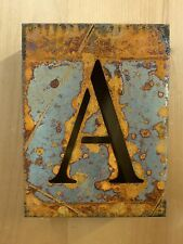 "8"" RUSTY RUSTED INDUSTRIAL METAL BLOCK CUT SIGN LETTER A vintage marquee wall"