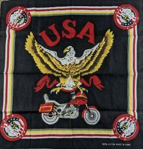 Vintage Red Black Eagle Motorcycle Biker Cotton Bandana