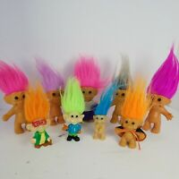 Lot of 9 Vintage Troll Dolls 6 Russ, 2 Burger King and 1 Made in Korea