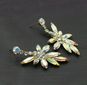 Silver Toned Pieced Crystal AB Aurora Borealis Earrings Chandelier Drops b18