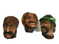 Set Of Three Vintage Chalkware Faces Of Three Weathered Men Of The World