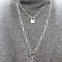 Unisex Punk Double Layer Silver Lock Chain Pendant Choker Necklace Jewelry GifSK
