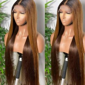 8A 180 Density Unprocessed Brazilian Ombre Brown/honey Lacefront Human Hair Wig