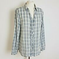 EAST Womens Shirt UK 18 Blue White Check Ruffle Button Up Long Sleeve