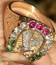 14k REAL GOLD Eagle Horseshoe luck manmad diamond Ruby Emerald 10 8 9 11 12