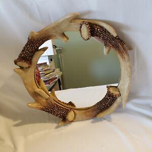 Rivers Edge Circular Mirror Resin Antler Frame