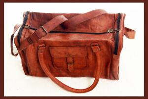 Folks Brown Vintage Genuine Travel Luggage Duffle Gym Bags Tote Goat Leather