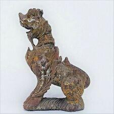 19th Century Burmese Wood Pagoda Guardian Chinthe Lion Statue.