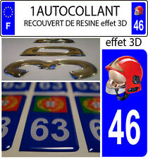 1 sticker plaque immatriculation auto DOMING 3D RESINE CASQUE F1 POMPIER DEPA 46