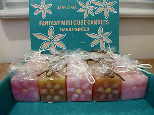 Unscented Hand Painted 5 Mini Soy Wax Candle Individual Gift Fair Trade SALE