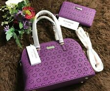 Promo SET Kate Spade Daisy Cedar Dome handbag satchel Sling + Wallet (Purple)