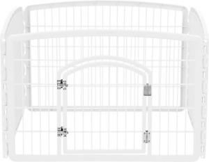 "IRIS USA 4-Panel Pet Playpen with Door, Size 35.25"" x 35.25""x 24"" White"
