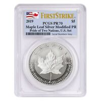 2019 1 oz Modified Proof Silver Canadian Maple PCGS PF 70 FS (Two Flags Label,