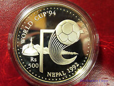 1992 Nepal Large Proof Silver 500 rupee-World Cup Soccer(Football)