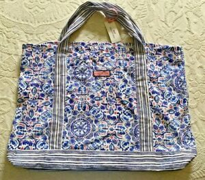NEW w/ Tags  VINEYARD VINES Large SEAHORSE Packable Canvas Tote Beach Bag $60