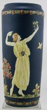 "WELLER BLUE WARE 11"" VASE W/A LADY PLAYING A LYRE & ONE DANCING GARDEN SCENE"