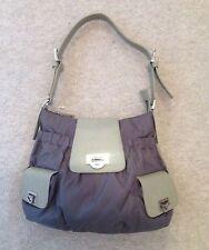 CERUTTI 1881 Grey / Taupe Nylon & Leather S /M Shoulder Bag