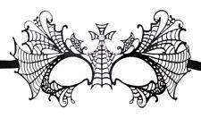 Schwarze Metall Augenmaske Mystique Strass Fasching Kreuz Gothic Magierin Vampir