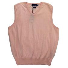 Polo Golf Ralph Lauren Mens Sweater Vest Pink V Neck 100% Cotton Pullover L New